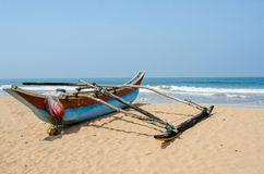 Tropical beach with palms and boats in Sri-Lanka Stock Photos