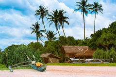 Tropical beach with palms and fishing boats . Stock Images