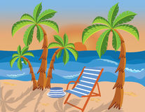 Tropical beach with palms and lounge chair Stock Images