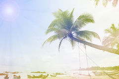 Tropical beach with palms trees, holiday and summer tropical bea Royalty Free Stock Images