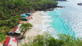 Tropical beach with palms, turquoise ocean and waves, aerial view. Tropical beach with palms, turquoise ocean and waves stock video