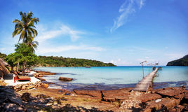 Tropical beach panorama Royalty Free Stock Photo