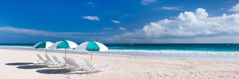 Tropical beach panorama Royalty Free Stock Images