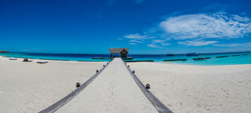 Tropical beach panorama landscape at Maldives Stock Images