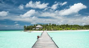 Tropical Beach Panorama. On the Maldives Stock Photography
