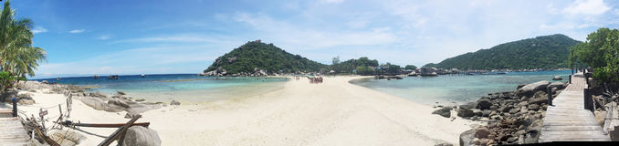 Tropical beach panorama with Nang Yuan Island Stock Photography