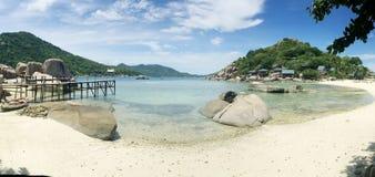 Tropical beach panorama with Nang Yuan Island Stock Photos
