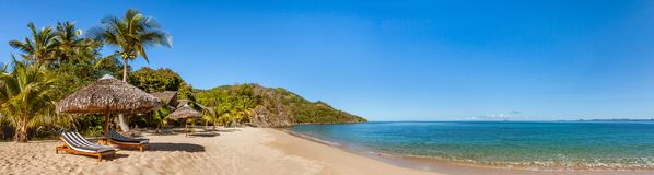 Tropical beach panorama. With sunbeds, umbrellas and palm trees Royalty Free Stock Photography