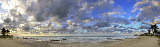 Tropical beach panoramic at sunset, cuba Stock Image
