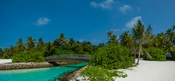 Tropical beach panoramic view with bridge on river at Maldives Royalty Free Stock Images