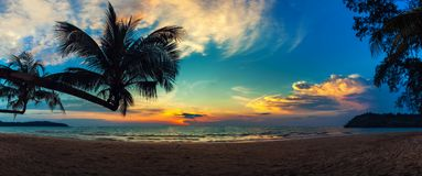 Landscape of paradise tropical island beach, sunrise shot Stock Image