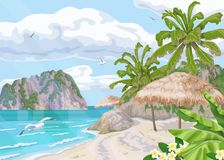 Tropical Beach with Parasol and Palm Trees. Seaside landscape with palm trees, parasol, ocean, clouds in sky and flying seagulls. Background with sea coast stock illustration