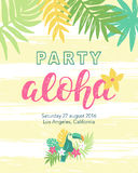Tropical beach party banner template. With Aloha lettering, toucan, flowers and hawaii plants. Vector illustration. Typographic design. Placard, label, poster Stock Photography