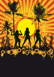 Tropical beach party disco. Illustration of silhouetted dancers at tropical beach party with sunburst background and copy space Stock Image
