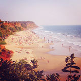 Tropical beach and peaceful ocean - vintage filter. Royalty Free Stock Photos