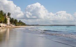 Tropical beach at Pernambuco, Brazil. Praia dos Carneiros: landscape of a tropical beach with a church, Pernambuco, Brazil Stock Images