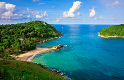 Tropical Beach of Phuket. Yanui Beach is a quiet little cove located near Nai Harn Beach and Promthep Cape. It is a scenic spot and ideal place for swimming and Stock Photo