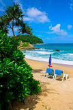 Tropical Beach in Phuket. Beach chairs at Yanui Beach which is a quiet little cove located near Nai Harn Beach and Promthep Cape. It is a scenic spot and ideal Royalty Free Stock Photography