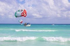 Water sports on the beach in Playa del Carmen, Mexico Royalty Free Stock Photography