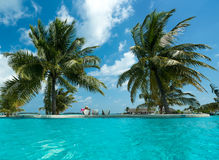 Tropical beach and pool Stock Photography