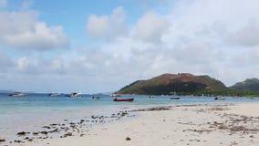 Tropical beach at Praslin island, Seychelles stock footage