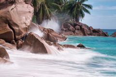 Tropical beach in Praslin, Seychelles stock photography