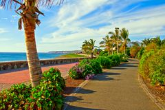Tropical Beach Promenade. Promenade or walkway at Maspalomas Beach on Gran Canaria island in the Canary Islands royalty free stock photos