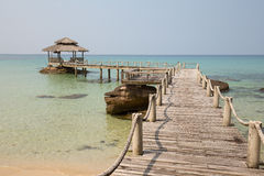 Tropical beach and quay pier in island Koh Kood , Thailand Stock Image