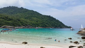 Tropical Beach Racha Island. The Tropical Beach Racha (or Raya) islands,are some 12 km south of Phuket,  known as an excellent diving and snorkelling daytrip stock video footage