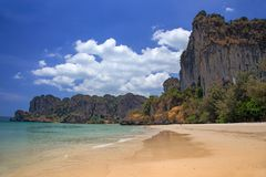 Tropical beach at Railay bay, Krabi province, Thailand Royalty Free Stock Photos