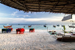 Tropical beach and relaxing with bar beer hut Royalty Free Stock Photos