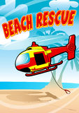 Tropical beach rescue helicopter Royalty Free Stock Photography