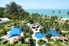 Tropical Beach Resort. Image of a tropical beach resort hotel with beautiful landscaping Stock Photography