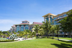 Tropical Beach Resort, Brunei. Image of a tropical beach resort at Jerudong Beach, Brunei Royalty Free Stock Photography