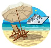Tropical beach resort. Illustration of tropical beach resort and cruise ship Stock Image