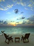 Tropical Beach Resort - The Maldives. Sunset at a luxury beach resort in the tropical paradise of The Maldives Stock Images