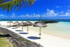 Tropical beach resort in mauritius island. Mauritius island, landscape view of beach and ocean Royalty Free Stock Images
