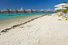Tropical beach resort on moorea in south seas stock image