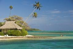 Tropical beach resort on moorea in south seas Royalty Free Stock Image