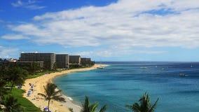 Tropical Beach Resort Paradise (HD). Wide angle shot of Kaanapali beach Maui, Hawaii stock video footage
