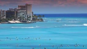 Tropical Beach Resort Paradise - Waikiki, Hawaii. View of Waikiki skyline, Diamond Head, the beach and resorts on Oahu in Hawaii stock footage