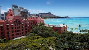Tropical Beach Resort Paradise - Waikiki, Hawaii. View of Waikiki skyline, Diamond Head, the beach and resorts on Oahu in Hawaii stock video footage