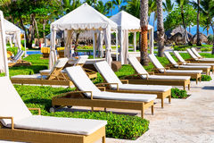 Tropical beach resort with umbrellas and lounge chairs Stock Images