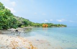 Tropical beach rock shore, Thailand Stock Photos