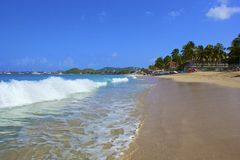 Tropical beach in Rodney bay in St Lucia, Caribbean Royalty Free Stock Photos