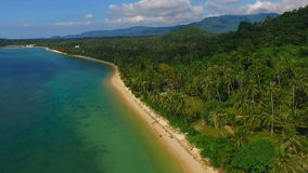 Tropical Beach on Samui island in Thailand, Aerial View stock video