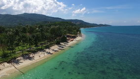 Tropical Beach on Samui island in Thailand with Turquoise Water, Aerial View stock video footage