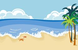 Tropical beach scene. Illustration of a cute tropical beach scene with palm trees Stock Photography