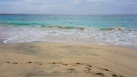 Tropical beach scene. Tropical beach in sal island on cabo verde Royalty Free Stock Photos