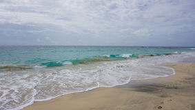 Tropical beach scene. Tropical beach in sal island on cabo verde Stock Photo
